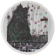 Mr. Cat Round Beach Towel