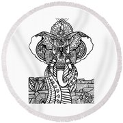 Mr. Elephante Round Beach Towel