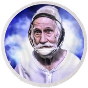 Mr. Joseph Blue Pulaski Round Beach Towel by Nicholas  Grunas