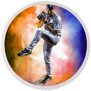 Mr. Justin Verlander Round Beach Towel by Nicholas  Grunas