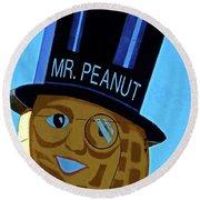 Mr Peanut 2 Round Beach Towel