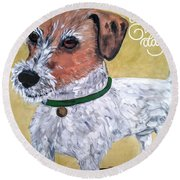 Mr. R. Terrier Round Beach Towel by Reina Resto