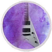 Dr House Inspirational Quote And Electric Guitar Purple Vintage Poster For Musicians And Trekkers Round Beach Towel
