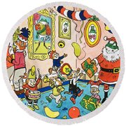 Mr Toads Christmas Party Round Beach Towel