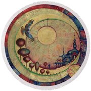 Round Beach Towel featuring the painting Mr Twardowski On The Moon by Anna Ewa Miarczynska