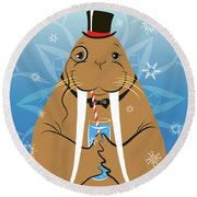 Mr. Walrus Round Beach Towel