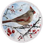 Mrs Red Bird The Visit Round Beach Towel