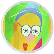 Mrs. Strangefellow Round Beach Towel