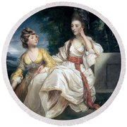 Mrs Thrale And Her Daughter Hester Round Beach Towel