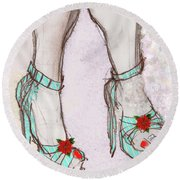 Ms Cindy's Shoes With Poinsettas Round Beach Towel by Carolyn Weltman