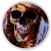 Round Beach Towel featuring the photograph Ms Skull by Annie Zeno