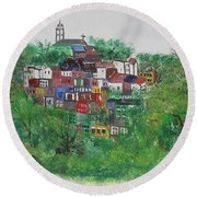 Round Beach Towel featuring the painting Mt. Adams  Cincinnati Ohio by Diane Pape
