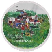 Round Beach Towel featuring the painting Mt Adams Cincinnati Ohio With Title by Diane Pape