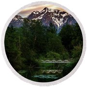 Mt Cheam Sunset At Miami Creek Round Beach Towel