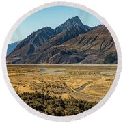 Round Beach Towel featuring the photograph Mt Cook And Tasman River  by Gary Eason