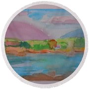 Mt Desert From Marlboro Beach Round Beach Towel