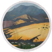 Round Beach Towel featuring the painting Mt. Diablo Above by Gary Coleman