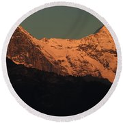 Mt. Eiger And Mt. Moench At Sunset Round Beach Towel