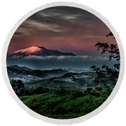 Mt. Etna I Round Beach Towel