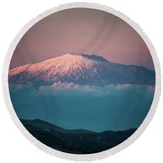 Mt. Etna II Round Beach Towel