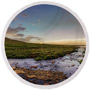 Round Beach Towel featuring the photograph Mt. Evans Alpine Stream by Chris Bordeleau