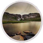 Round Beach Towel featuring the photograph Mt. Evans Summit Lake by Chris Bordeleau