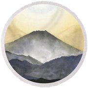 Mt. Fuji At Sunrise Round Beach Towel