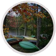 Mt. Gretna Canoes In Fall Round Beach Towel
