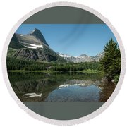 Mt. Grinnell Across Red Rock Lake Glacier National Park Round Beach Towel