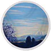 Mt Hood A View From Gresham Round Beach Towel by Lisa Rose Musselwhite