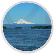 Mt. Hood Above The Columbia River Round Beach Towel