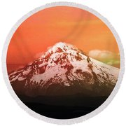 Nature Round Beach Towel featuring the photograph Mt Hood Oregon Sunset by Aaron Berg