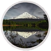 Mt Hood Reflection Round Beach Towel