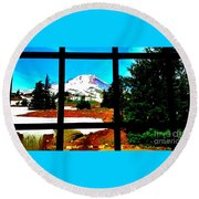 Mt. Hood View Round Beach Towel
