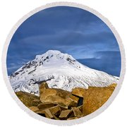 Mt Hood With Talus Round Beach Towel