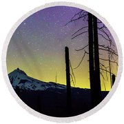 Round Beach Towel featuring the photograph Mt. Jefferson Bathed In Auroral Light by Cat Connor