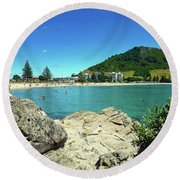 Mt Maunganui Beach 13 - Tauranga New Zealand Round Beach Towel