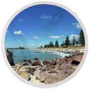 Mt Maunganui Beach 3 - Tauranga New Zealand Round Beach Towel by Selena Boron