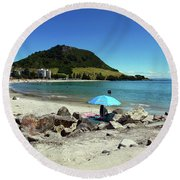 Mt Maunganui Beach 5 - Tauranga New Zealand Round Beach Towel