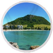 Mt Maunganui Beach 7 - Tauranga New Zealand Round Beach Towel