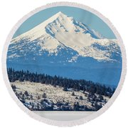 Round Beach Towel featuring the photograph Mt. Mcloughlin by Marc Crumpler