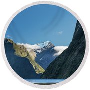 Round Beach Towel featuring the photograph Mt Pembroke Glacier by Gary Eason