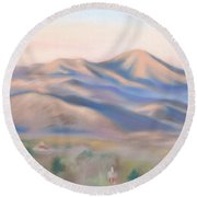 Mt. Pisgah Morning Over Asheville Round Beach Towel