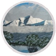 Round Beach Towel featuring the painting Mt Princeton Co by Norm Starks