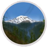 Mt Rainier Round Beach Towel