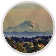 Mt Rainer Fall Color Rising Round Beach Towel by James Heckt