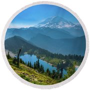 Mt. Rainier And Eunice Lake Round Beach Towel