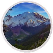 Mt Rainier At Emmons Glacier Round Beach Towel