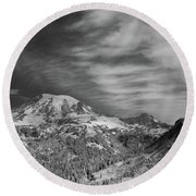 Round Beach Towel featuring the photograph Mt. Rainier by Bob Cournoyer
