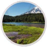 Mt Rainier From Reflection Lake, No. 2 Round Beach Towel